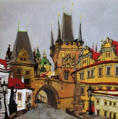 Praga. Puente de Carlos, torres de Malá Strana. Acrílico y óleo sobre lienzo, 60 x 60 cm. 2016.