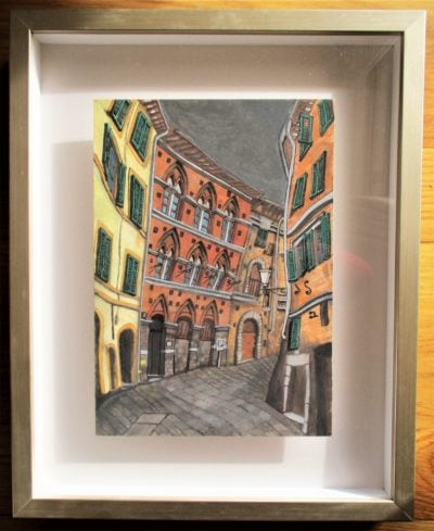 Siena IV. Contrada della Civetta. Via di Città. Tinta, acuarela y acrílico sobre papel. 30 x 21 cm. 2016.