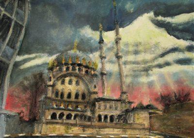 Estambul. Nusretiye Camii, Beyoğlu. Tinta, acrílico y acuarela sobre papel, 30 x 42 cm. 2019.