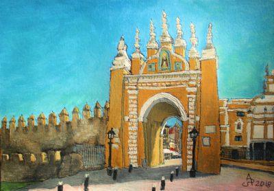 Sevilla. Arco de la Macarena. Tinta, acuarela y acrílico sobre papel, 21 x 30 cm. 2018.