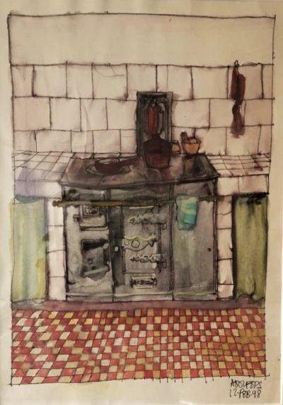 Cocina de Antona, Beleño, Asturias. Tinta y acuarela sobre papel,  12 de Febrero de 1998.