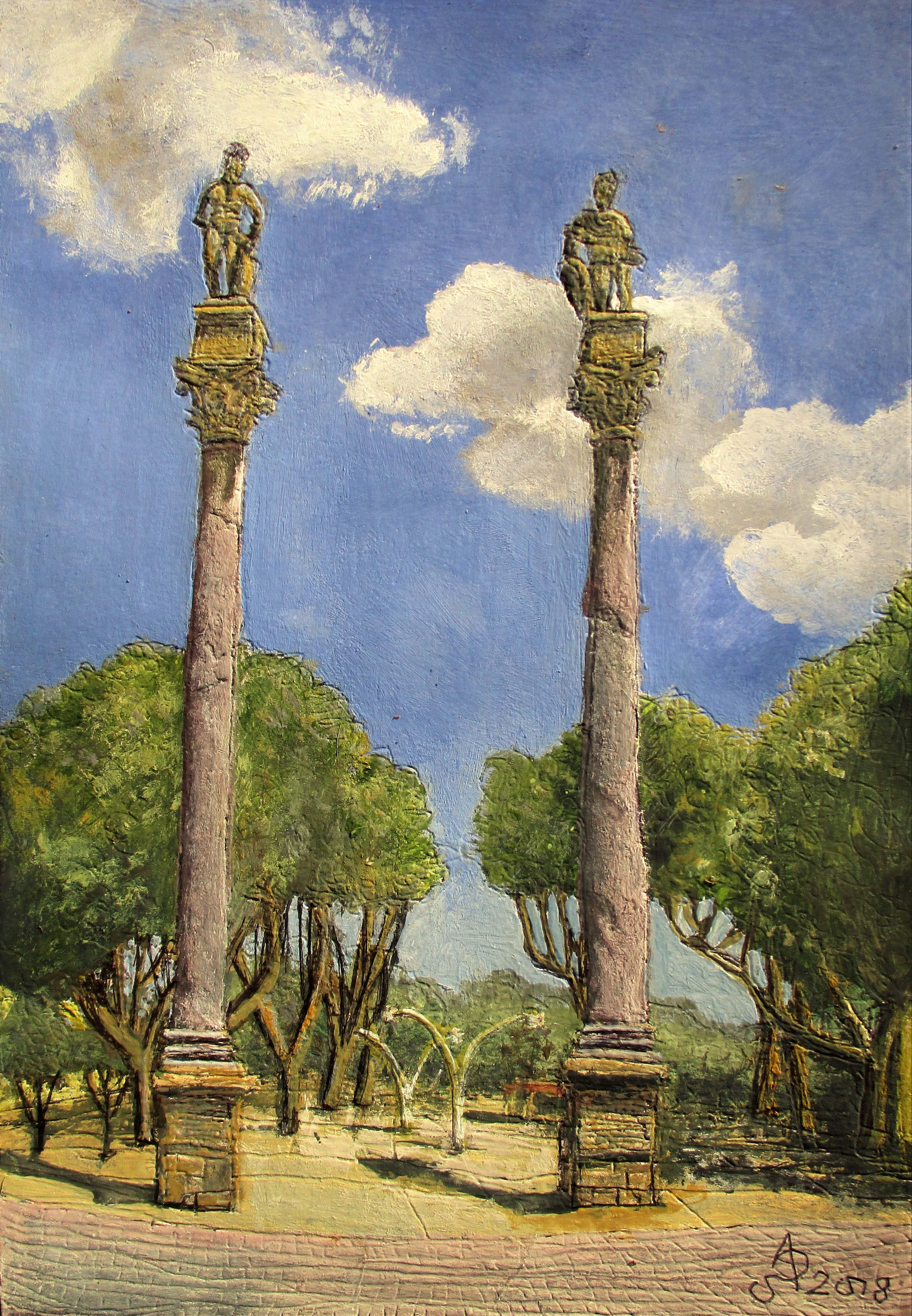 Sevilla. Columnas de Hércules. Tinta, acuarela y acrílico sobre papel, 30 x 21 cm. 2018.