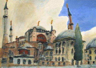 Estambul. Santa Sofía (Ayasofya) Tinta, acrílico y acuarela sobre papel, 30 x 42 cm. 2019.