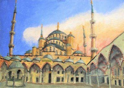 Estambul. Mezquita Azul (Sultanahmet Camii) Tinta, acrílico y acuarela, 30 x 42 cm. 2019.