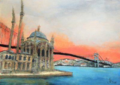 Estambul. Ortaköy Camii y puente del Bósforo. Tinta, acrílico y acuarela sobre papel, 30 x 42 cm. 2019.