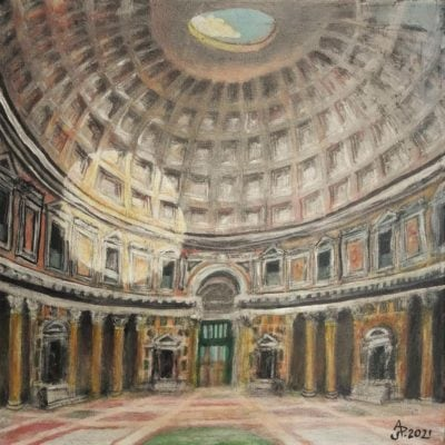 Roma, Panthéon. Acrílico sobre lienzo, 50 x 50 cm. 2021.