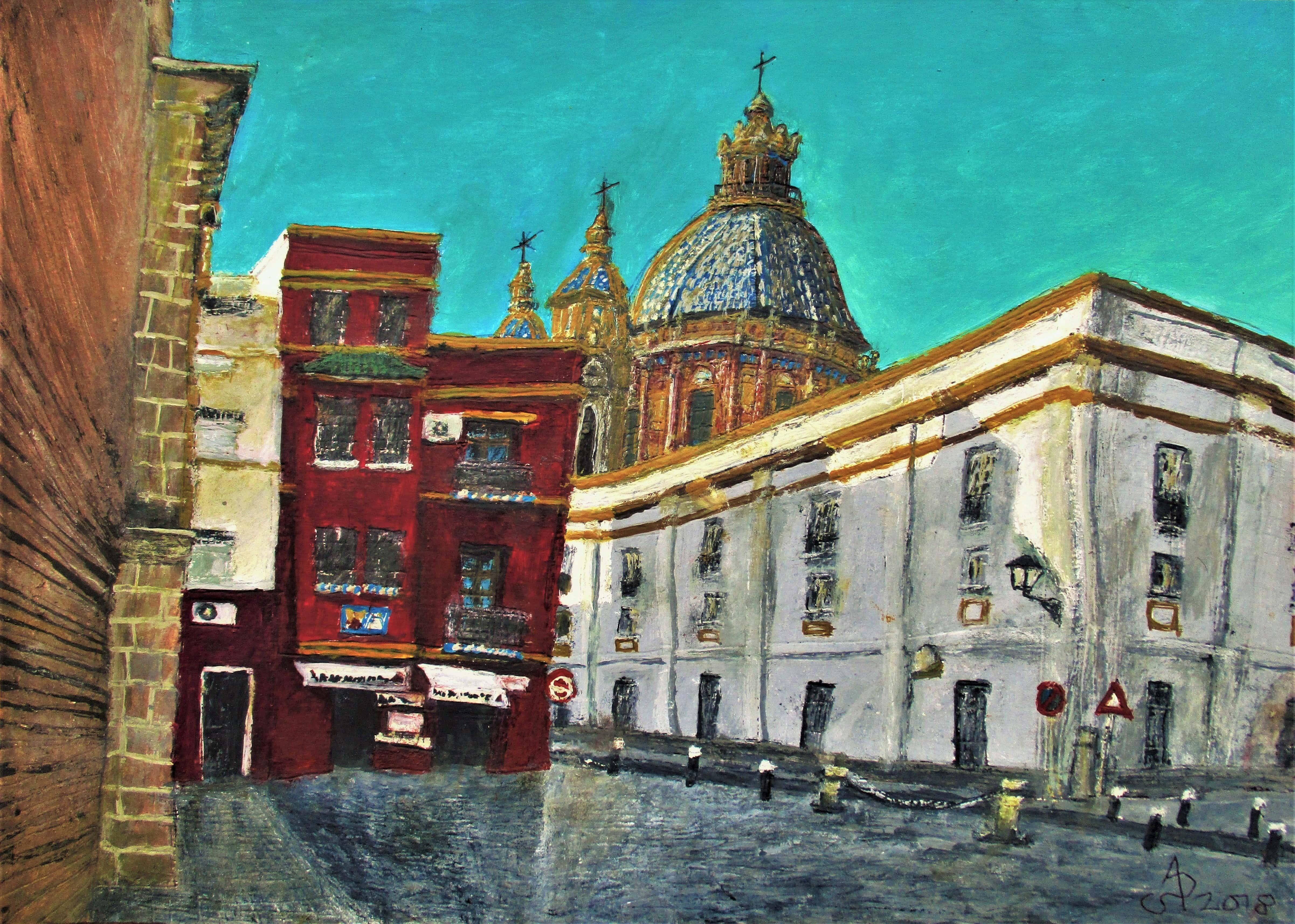 Sevilla. San Luis de los Franceses vista desde la plaza de Santa Marina. Tinta, acuarela y acrílico sobre papel, 30 x 42 cm. 2018.