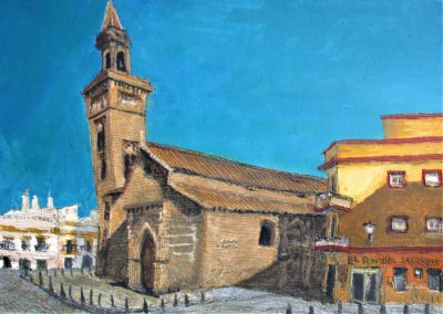 Sevilla. Iglesia de San Marcos. Tinta, acuarela y acrílico sobre papel, 21 x 30 cm. 2018.