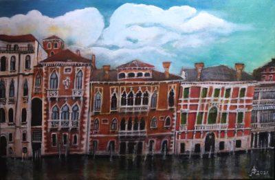 Venecia. Gran Canal. Acrílico sobre lienzo, 40 x 60 cm. 2021.