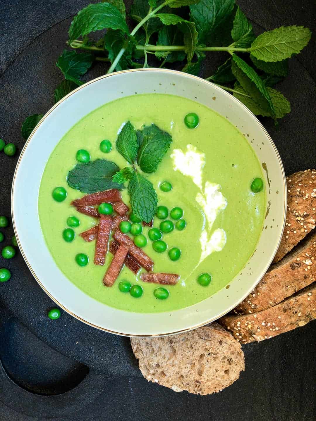 Easy Pea and Ham Soup with Mint