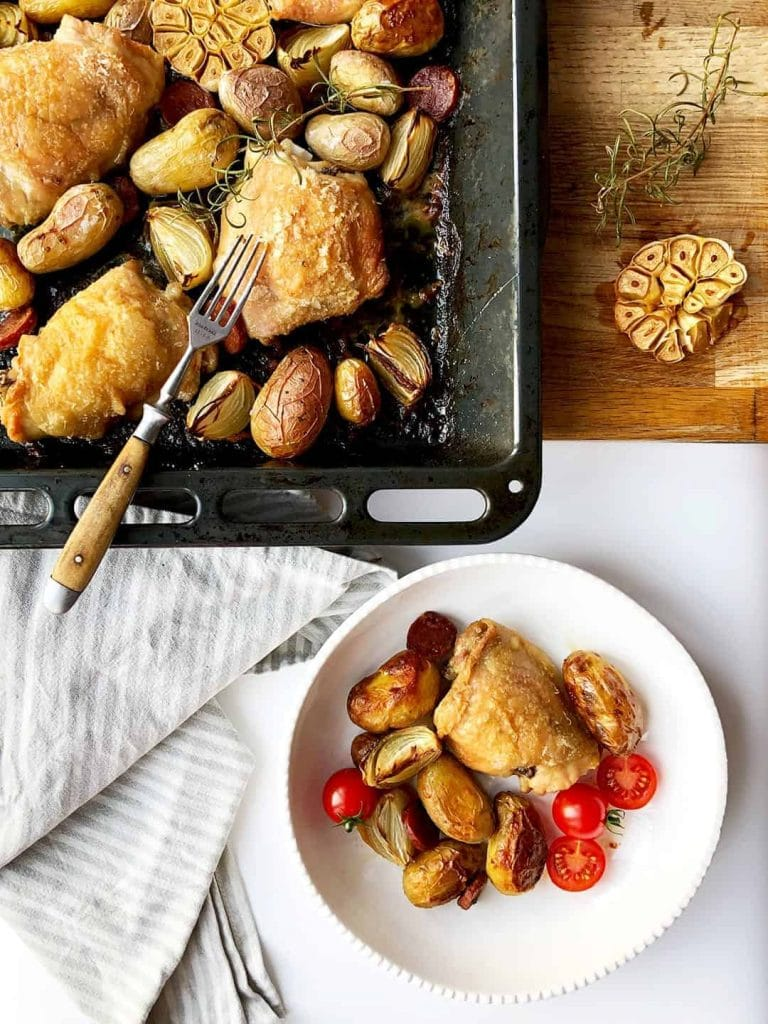 Chicken Thigh Tray Bake with Chorizo and Potatoes