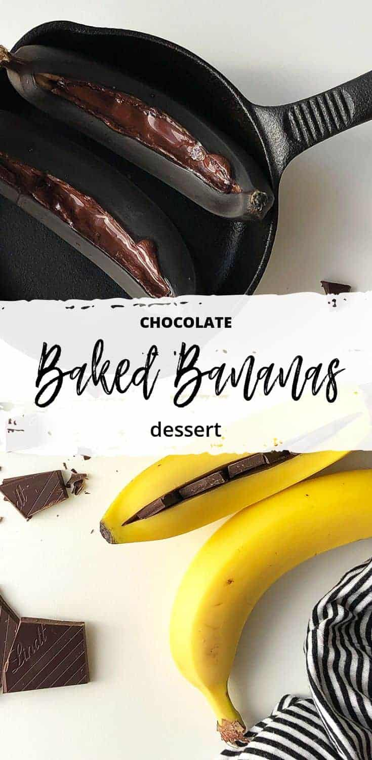 Baked Bananas with Chocolate | All Kitchen Colours| Roasted bananas are one of the simplest desserts you can prepare with just 2 ingredients in less than 20 minutes. #easydessert #simpledessert #roastedbananas #bakedbananas #valentinesday #valentinesdaydesserts #bananadesserts #chocolatedesserts