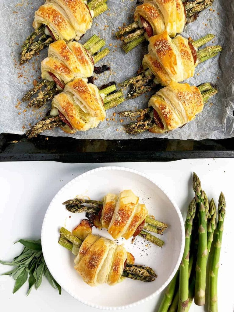 Asparagus Puff Pastry Rolls with Mozzarella and Salami