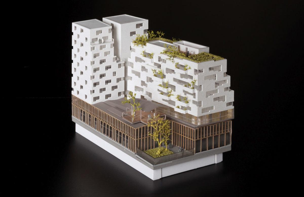 maquette de concours à l'avenue de France par SOA Architecte au 1/500ème