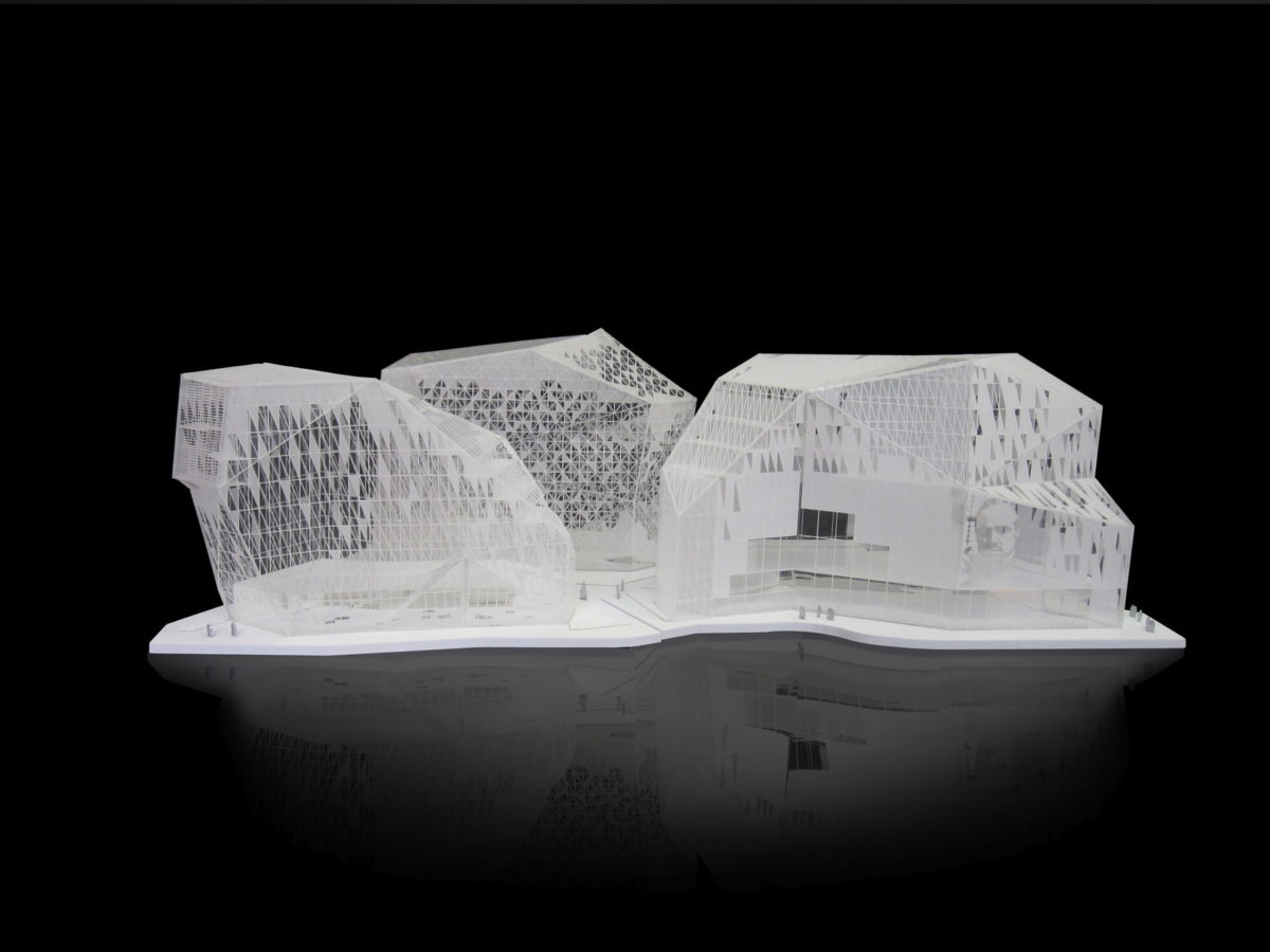 Maquette de concours architecture Eurorennes ilot Feval à Rennes, Péripheriques architectes au 1/500ème