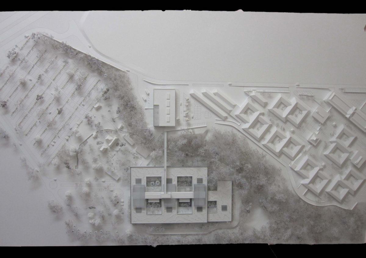 Maquette d'urbanisme architecture de l'hôpital de la réunion par Brunet Saunier au 1/500ème