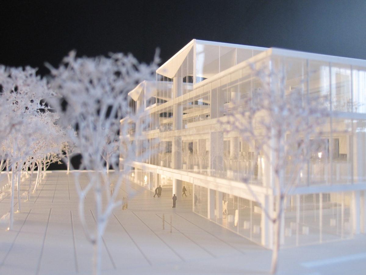 maquette blanche d'équipement documentaire à Aubervilliers par Marc Barani