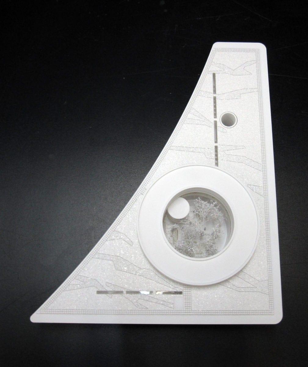 Maquette blanche du Learning center de Saclay par Marc Barani Architectes