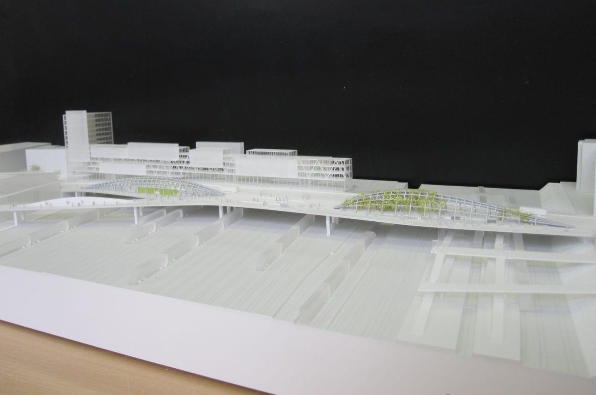 maquette d'urbanisme du pont Pleyel à St denis par l'architecte Marc Mimram au 1/500ème