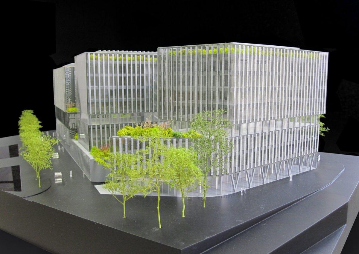 Maquette promotion d'hôtel et de bureaux à Paris à Porte d'Italie par XTU Architectes