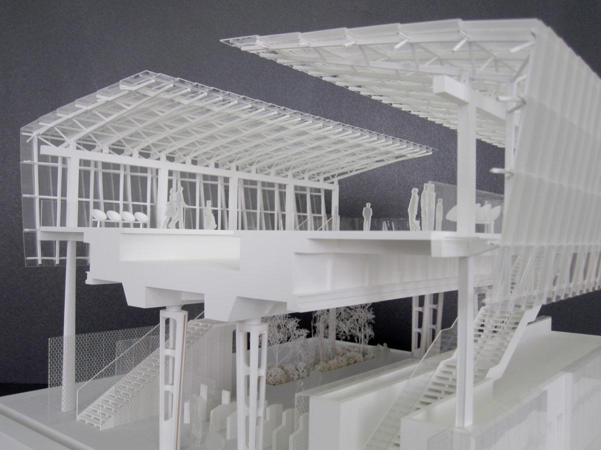 Maquette blanche de la sattion Coteaux Beauclair pour la RATP par Marc Mimram