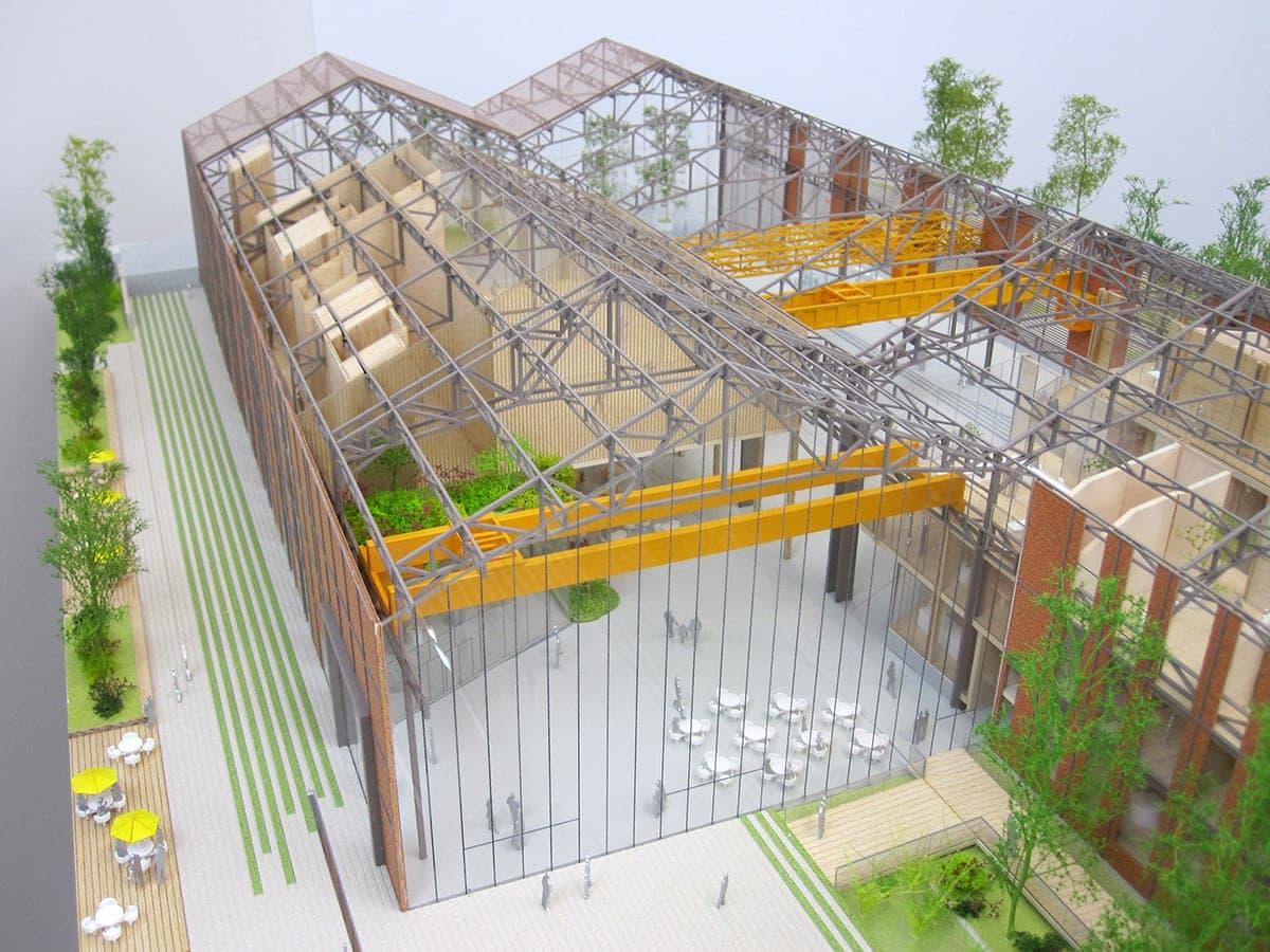 détail de la structure sur la maquette de la grande halle de Pantin