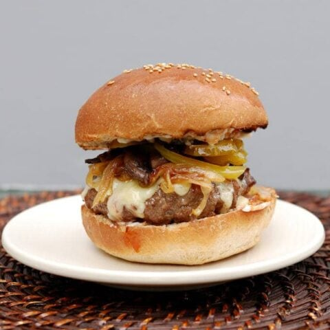 Juicy burger on a Milk & Honey Whole Wheat Hamburger Buns