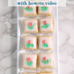 a pinterest image for almond petit fours