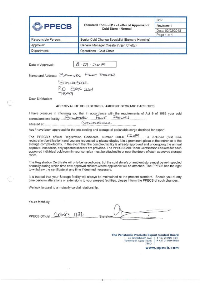 Banhoek Fruit Packers - PPECB Coldstore Approval Letter 2019_pages-to-jpg-0001
