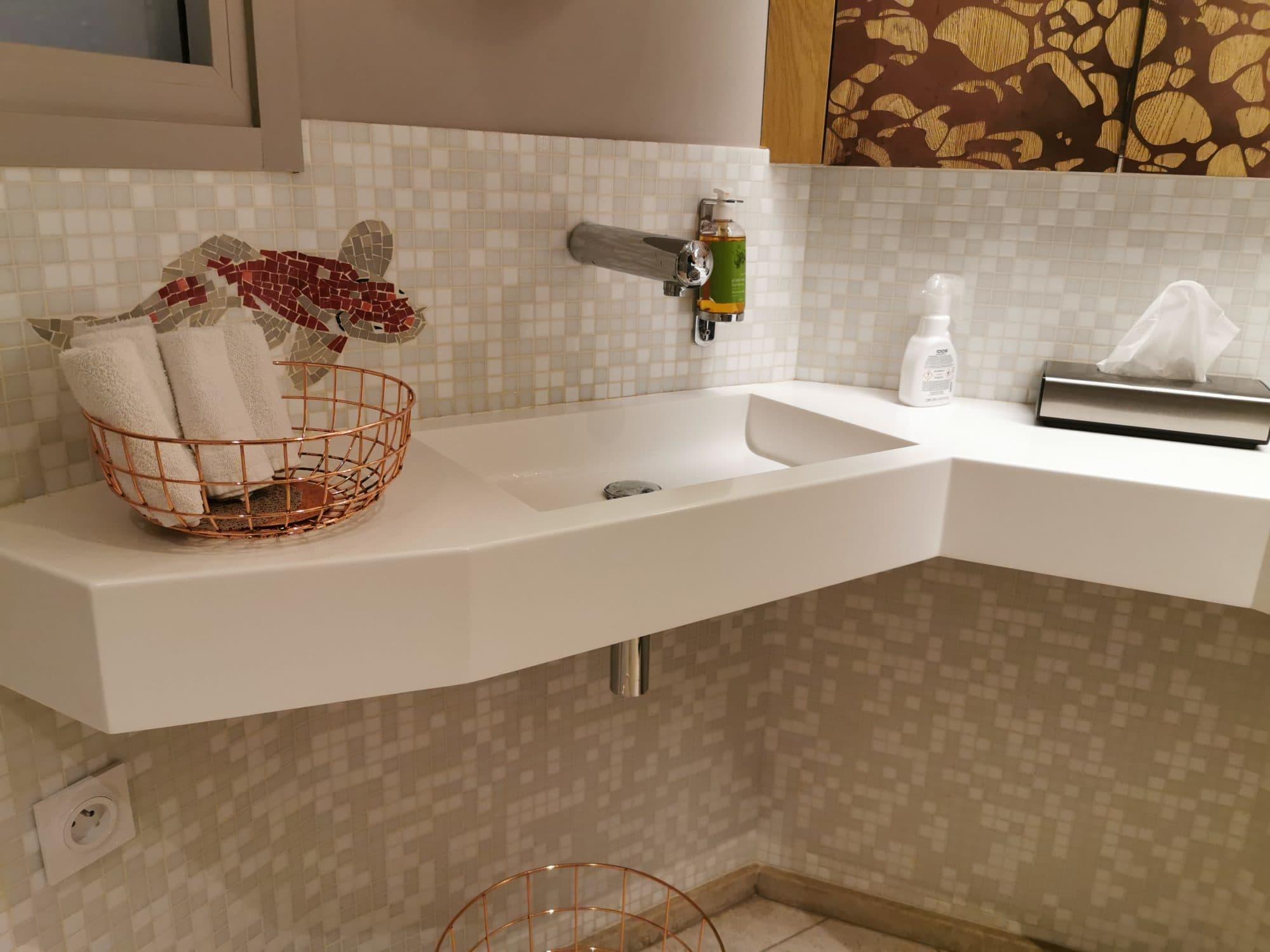plan vasque – modèle July – Corian Glacier White- Restaurant l'Atlantide Nantes – BF PRO