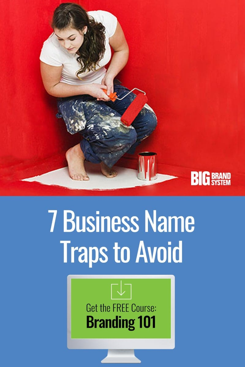 Stuck trying to find a memorable business name for your company? Don't let your online business name ideas paint yourself into a corner! Click through to read about 7 traps you should avoid, and grab the FREE Branding 101 course, too! #branding #onlinebranding #websitename #startup