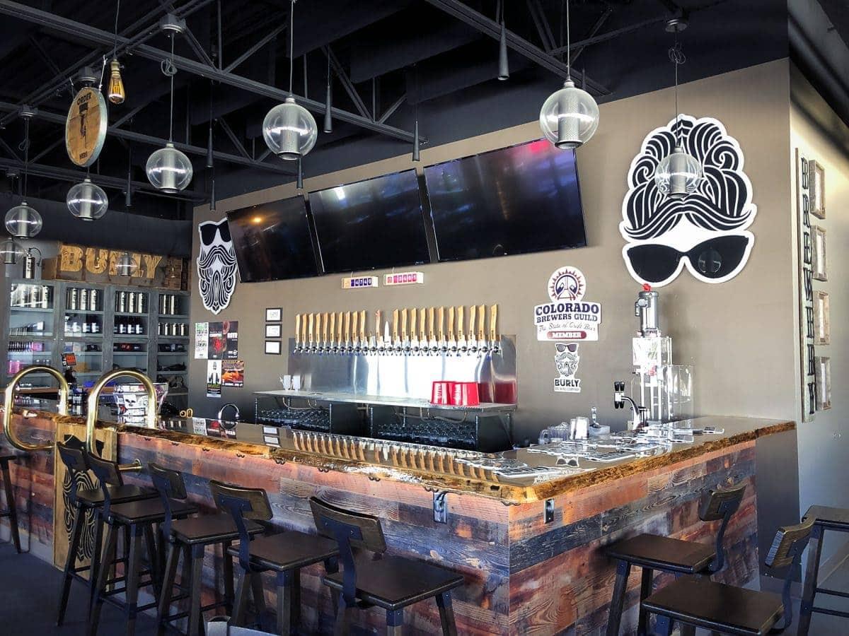 The taproom at BURLY Brewing Company, Castle Rock, Colorado