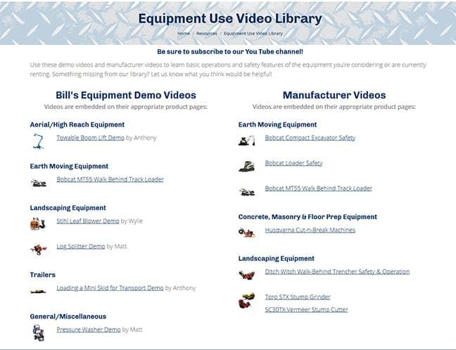 Bill's Equipment & Supply, Inc. Video Library