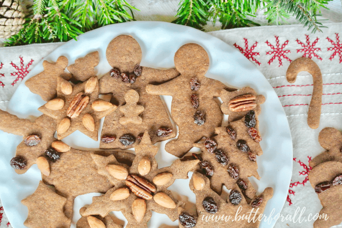 Gingerbread Cut-Out Cookies – Date and Molasses Sweetened – Made With Sprouted Wheat – In Your Food Processor