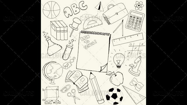Back to School Doodle Poster 02 Yellow Paper Square