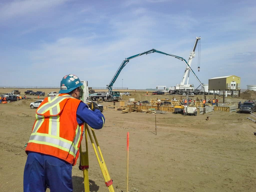 Using total station for construction at Hardisty