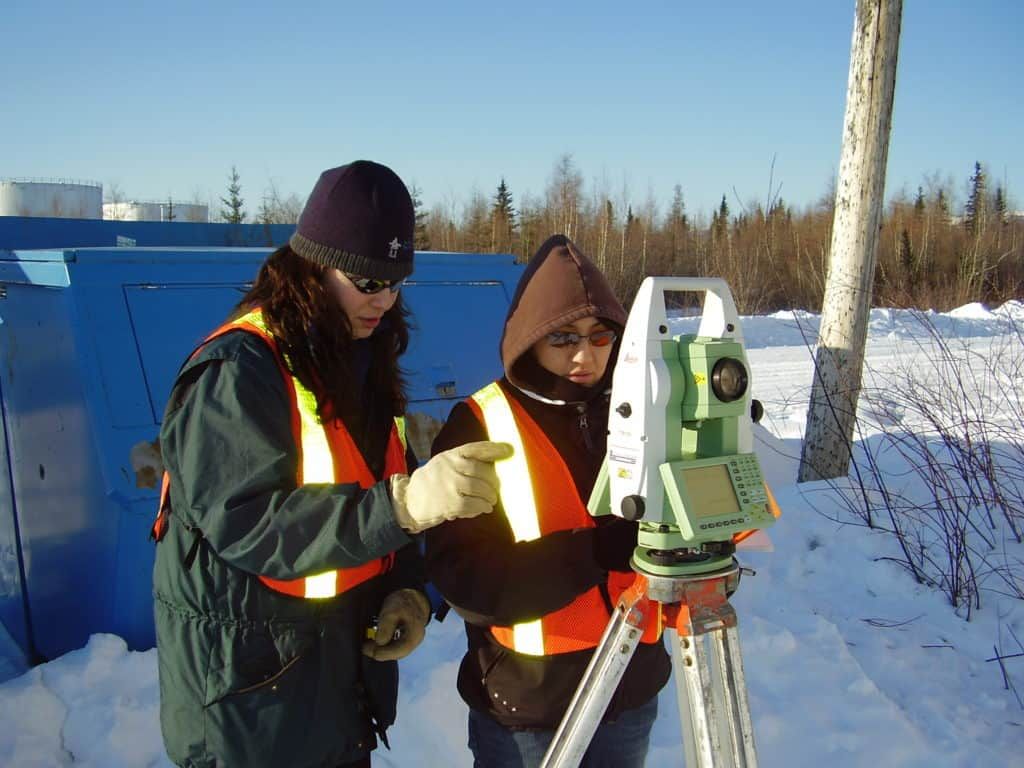 Survey training on a total station at Norman Wells