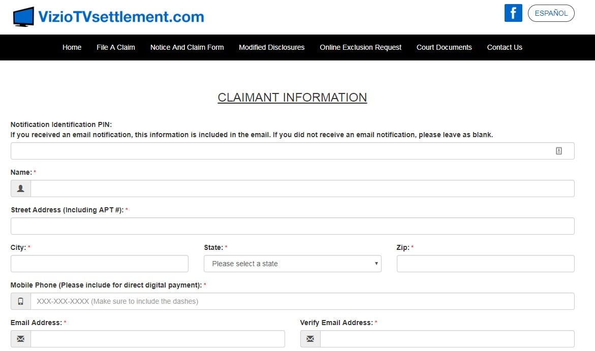top of the Vizio smart TV lawsuit claim form