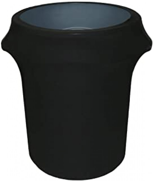 TRASH CAN WITH BLACK SLIP COVER