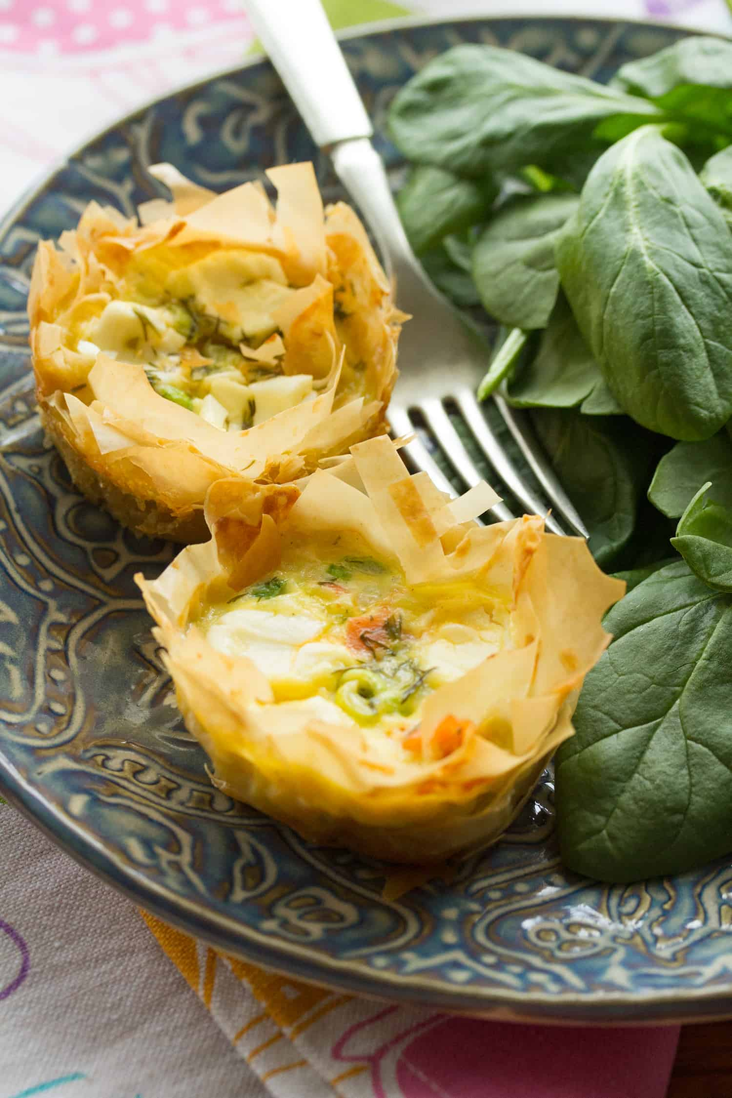 What's the Dilly-Oh: Dilled Smoked Salmon Quiches with Phyllo Crust