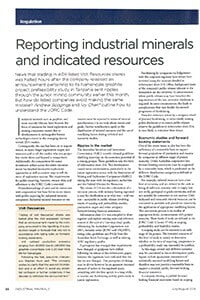 Reporting industrial minerals and indicated resources