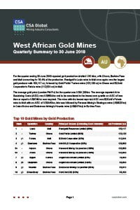 West African Gold Mines Quarterly Summary to 30 June 2018