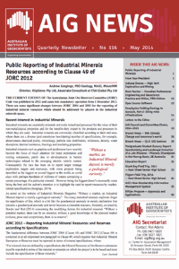 Public Reporting Of Industrial Minerals Resources According To Clause 49 Of JORC