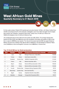 West African Gold Mines Quarterly Summary to 31 March 2018