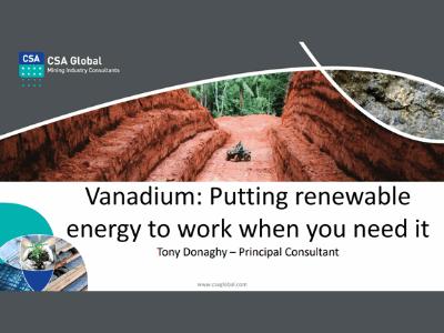 Vanadium: Putting renewable energy to work when you need it