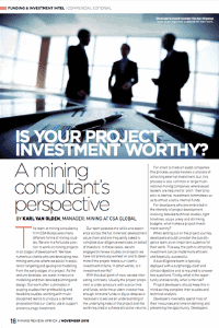 Is your project investment worthy? A mining consultant's perspective
