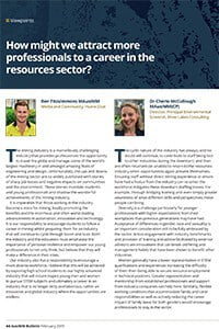 How might we attract more professionals to a career in the resources sector?