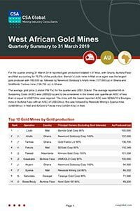 West African Gold Mines Quarterly Summary to 31 March 2019