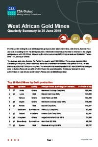 West African Gold Mines Quarterly Summary to 30 June 2019