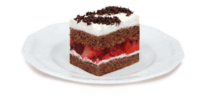 Kawałek kakaowego ciasta z owocami na taleryzku